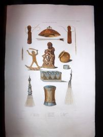 d'Urville 1835 Folio Hand Col Print. Instruments & Carvings of New Guinea